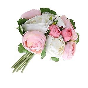 BESTOYARD 10pcs Artificial Flowers Camellia Bridal Wedding Bouquet Bridesmaid Bride Toss Bouquet Home Decoration (Pink & White) 9