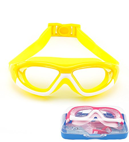 (June Sports Swim Goggles for Kids (3-15 Year Old), Waterproof Swimming Googles Glasses Large Frame Anti Fog UVA/UVB Protection and No Leak Soft Silicone Gasket Teens Boys Girls Yellow SG28)
