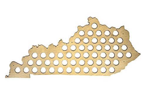 All 50 States Beer Cap Map - Kentucky Beer Cap Map KY - Glossy Wood - Skyline Workshop