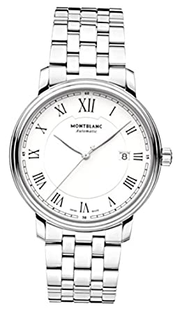 b5b91f53d Image Unavailable. Image not available for. Color: Montblanc Tradition  Automatic White Dial Stainless Steel Mens Watch 112610