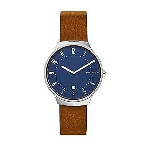 Skagen Men's Quartz Watch analog Display and Leather Strap, SKW6457