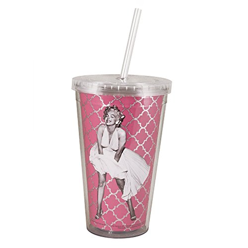 Marilyn Monre White Dress Acrylic Ice Tea Tumbler with Straw, 16-Ounce, Pink