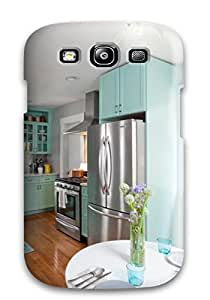 New Shockproof Protection Case Cover For Galaxy S3/ Stainless Appliances In A Kitchen With Hardwood Floors And Teal Cabinets Case Cover