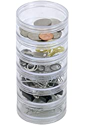"""CNTB111-6 Storage Stackable Containers 6 For Beads Crafts 2.75"""" Round"""