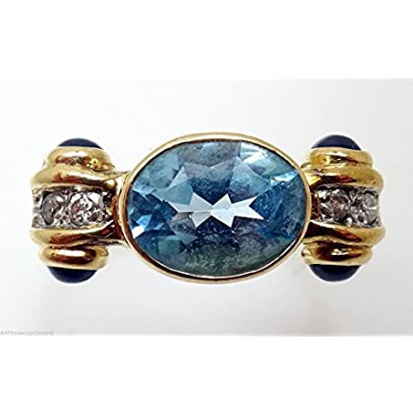 14K Gold Oval Blue Genuine Natural Topaz Ring With Diamonds Sapphires 2028