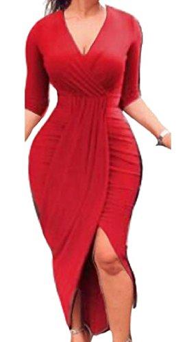 Casual Irregular Women Evening Long Dress Sleeve Neck Sexy Coolred V As4 Club 68ndz8qw