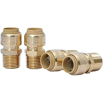 SharkBite U072LFA4 Straight Connector Plumbing, Male 1/2 in, MNPT, PEX Fittings, Push-to-Connect, Copper, CPVC, Pack of 4