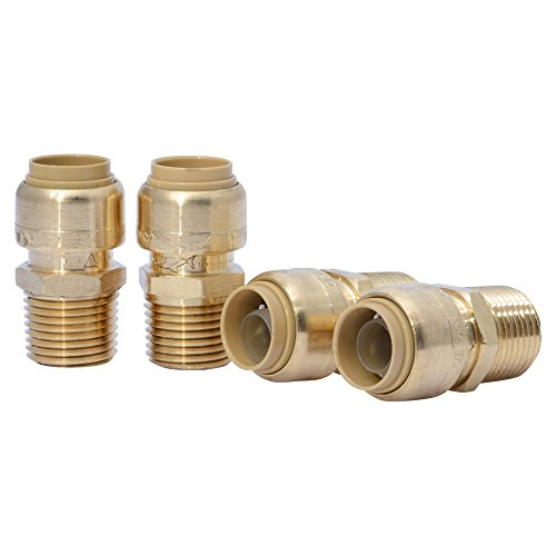 Pex Male Adapter - SharkBite U072LFA4 Straight Connector Plumbing Fitting, Female Adapter, 1/2 Inch by 1/2 Inch, FNPT, PEX Fittings, Push-to-Connect, Copper, CPVC, Pack of 4