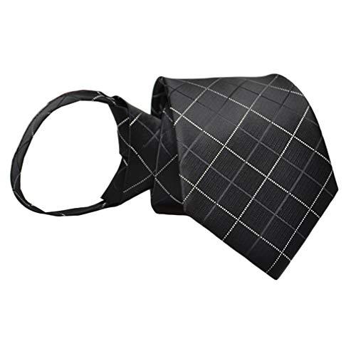 BESMODZ Men's Stripe Argyle Black Zipper Ties Wedding Pre-tied Business Neck Tie