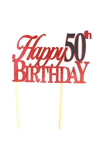 All About Details Happy 50th Birthday Cake Topper,1pc, 50th Birthday, Cake Decoration, Party Decor (Red & Black) -