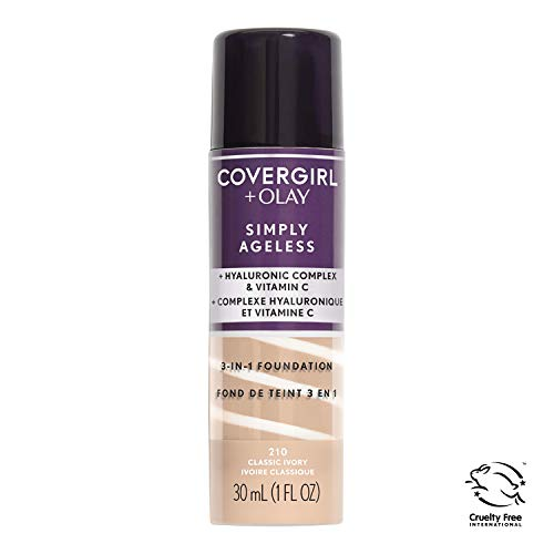 COVERGIRL + Olay Simply Ageless 3-in-1 Liquid Foundation, the #1 Anti-Aging Foundation Now In A Liquid, Classic Ivory Color, 1 Count (packaging may vary) (Best Makeup For Wrinkled Skin)