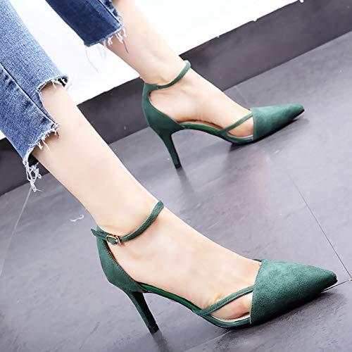 HOESCZS Ein Wort Schnalle transparente transparente transparente Stiletto Schuhe 2019 Frühjahr Neue Hohle Spitze einzelne Schuhe flachen Mund High Heels weiblich grün cb38c1