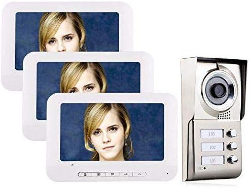 MOUNTAINONE 7 LCD 3 Apartments Video Door Phone Intercom System IR-CUT HD 1000TVL Waterproof Camera Doorbell with 3 Monitors