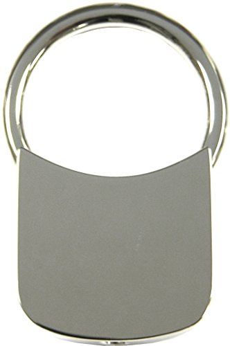 High Polished Silver Plated Square Engraveable Key Ring102828 ()