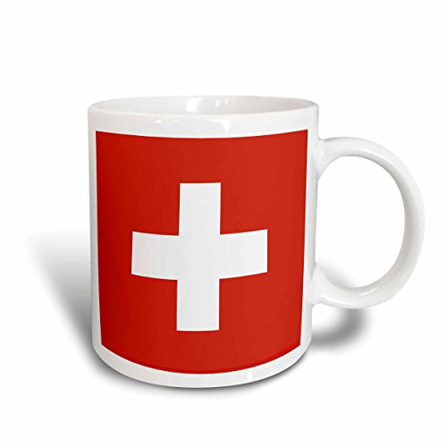 3dRose (taza 158442_ 5) bandera de Suiza–Swiss rojo y cruz blanca–Europa–país europeo–World...