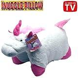 "Unicorn Snuggle Pillow White Pink Pillow Pet 18"""