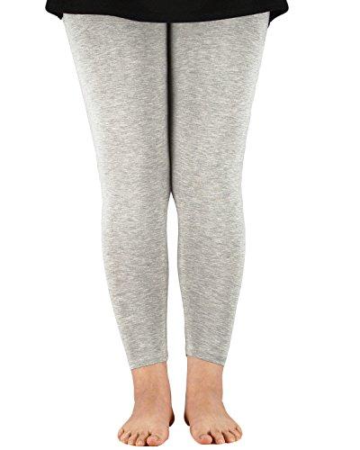 Women's Basic Solid Color Seamless Stretch Full Length Elastic Waist Capri Bamboo Leggings Plus Size Ninth Pants Grey 7XL (US 4XL Plus)