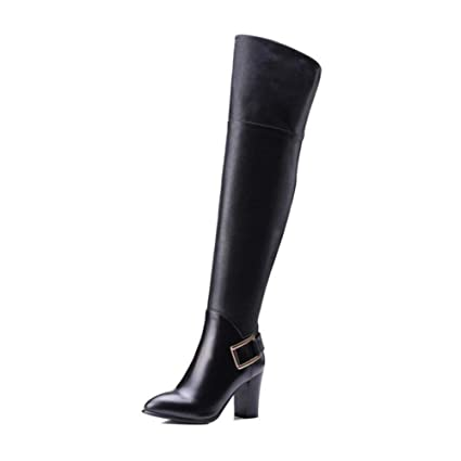 63c08e015fb94 Amazon.com: YaXuan Women's Shoes, Leather Pointed Boots, Female Over ...