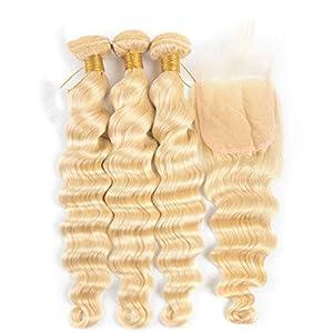 613 Blonde 3 Bundles With Closure Loose Deep Wave Bundles With Closure 4X4 Swiss Lace Brazilian Remy Human Hair Bundles…