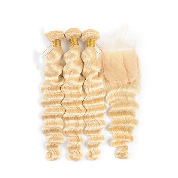 613 Blonde 3 Bundles With Closure Loose Deep Wave Bundles