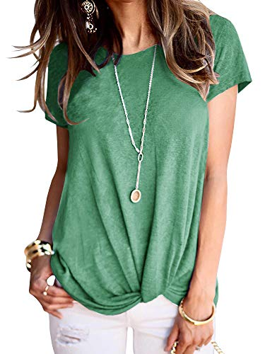 Beautife Womens Short Sleeve Tops Casual Crew Neck Loose Fit Cotton Tie Front Knot T Shirts (Small, Green)
