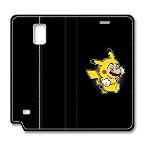 BESTER Samsung Galaxy Note 4 Case, Note 4 Case - Best Protective Folio Flip Leather Case Holder for Samsung Note 4 Funny Mario Pikachu Cartoon Slim Fit Durable Leather Bumper Case for Samsung Galaxy Note 4