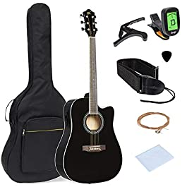 Best Choice Products 41in Full Size Acoustic Electric Cutaway Guitar Set w/Capo, E-Tuner, Gig Bag, Strap, Picks – Black