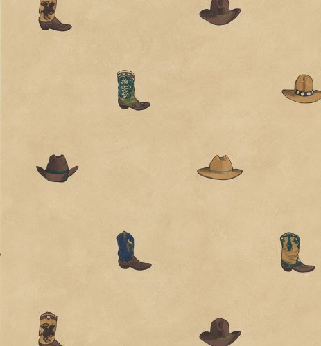 Cowboy Wallpaper - Wallpaper Designer Western Round Up Cowboy Boots and Cowboy Hats on Tan Faux