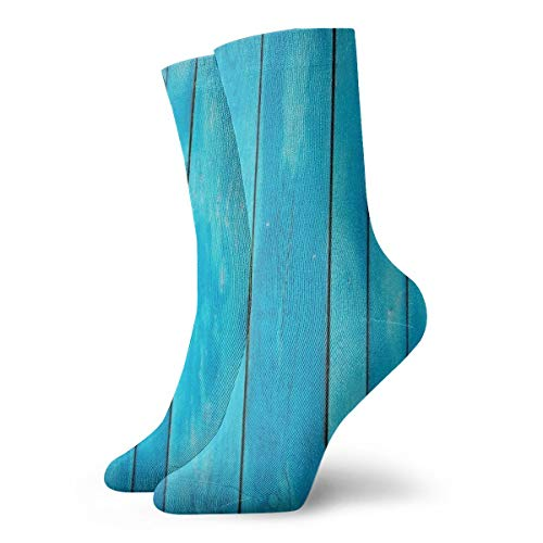 MSONNET Women's Sea Blue Old Wooden Oak Plank Soft Christmas Knee Highs Stockings Slipper Socks, Christmas Fun Colorful Dress Socks (Shoe Skateboard Oak)