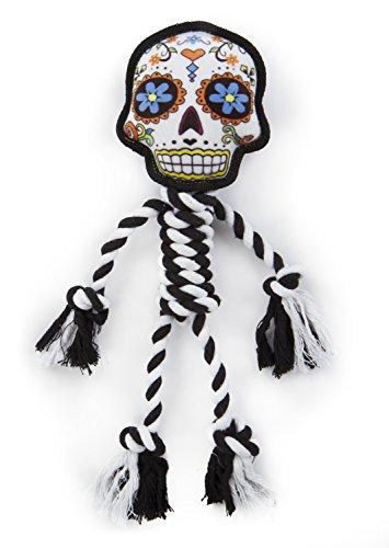 goDog Sugar Skulls with Chew Guard Technology Rope Dog Toy, White, Large -