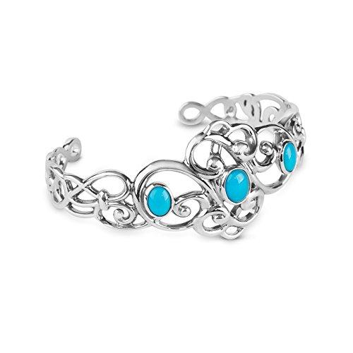 Carolyn Pollack Sterling Silver Sleeping Beauty Turquoise Gemstone 3-Stone Cuff Bracelet Size Large