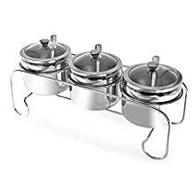 VANRA High Quality 304 Stainless Steel Seasoning Containers Spice Jar Spice Rack Condiment Cruet Bottle Kitchen Supplies Salt Pepper Sugar Storage Organizers with Serving Spoons, Spice Stand, Set of 3