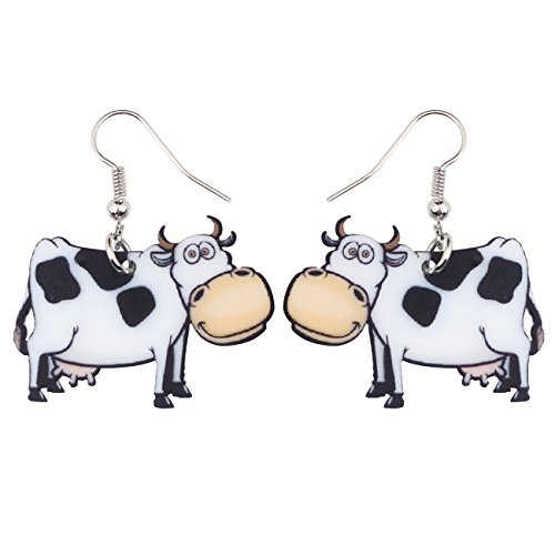NEWEI Drop Dangle Acrylic Farm Sweet Dairy Cow Earrings Fashion Jewelry For  Girl Women Charms