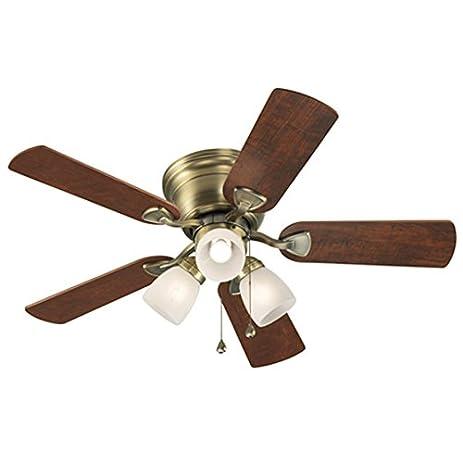 harbor breeze ceiling fan centreville 42in antique brass flush mount with light kit