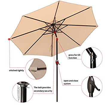 RUBEDER 9 Patio Umbrella Outdoor Market Table Umbrella with 8 Sturdy Ribs,Wing Vent,Push Button Tilt Crank 9 Ft, Beige 2