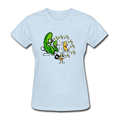 Tee Center Funny Dancing Banana Womens T-shirt Pullover Basic Tee Skyblue L (Code Value T-shirt)