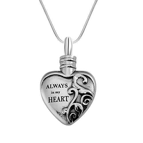 """Cremation Jewelry Urn Necklace """"Always in my heart"""" Love ..."""