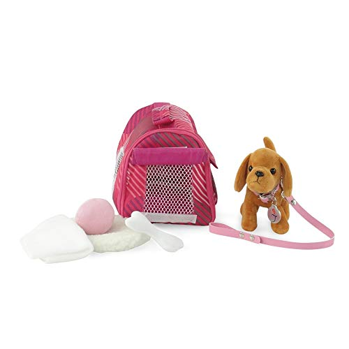 (18-inch Doll Accessories | Doll Puppy Set | Brown Dog with Pet Carrier with Dog Bed, Toy Ball and Play Bone | Fits American Girl Dolls)