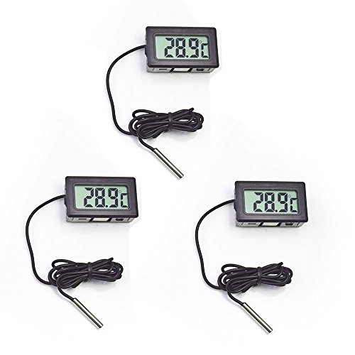 Thermometer,COOSO -50/110?C Digital LCD Thermometer For Aquarium Freezer Frozen Refrigerator Fridge Freezer ,Black/three ()