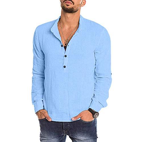 [해외]kemilove Fashion Men`s Casual Solid Long Sleeve V-Neck T Shirts Tops Blouses / kemilove Fashion Men`s Casual Solid Long Sleeve V-Neck T Shirts Tops Blouses Blue