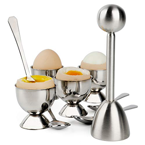 Egg Cracker Topper Set Soft Hard Boiled Eggs Separator Holder Include 4 Spoons and 4 Cups 1 Shells Remover Top Cutter Stainless Steel for Breakfast Kitchen Tool ()