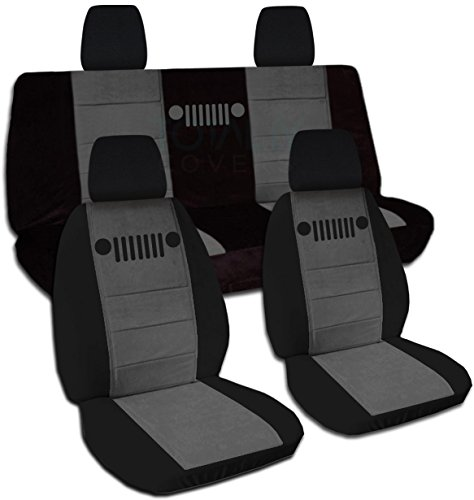 Designcovers 2011-2018 Jeep Wrangler JK Two-Tone Seat Covers: Black & Charcoal - Full Set: Front & Rear (21 Colors) 2012 2013 2014 2015 2016 2017 2-Door/4-Door Complete Back Solid/Split (2 Tone Charcoal)