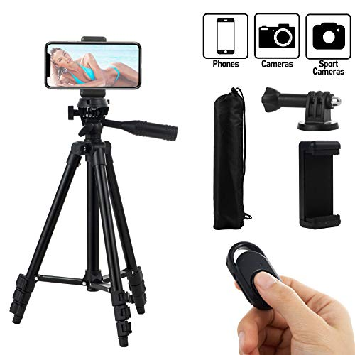 HITSLAM Cell Phone Tripod 51 Inch 130cm Aluminum Lightweight Phone Tripod for Apple Samsung Huawei Smartphone, Camera with Bluetooth Remote Control, Carrying Bag and Gopro Mount (Black)