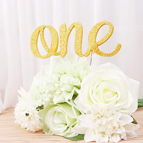 Gold ONE Celebration Cake Toppers Crystal Rhinestone 1st Birthday Party Decoration