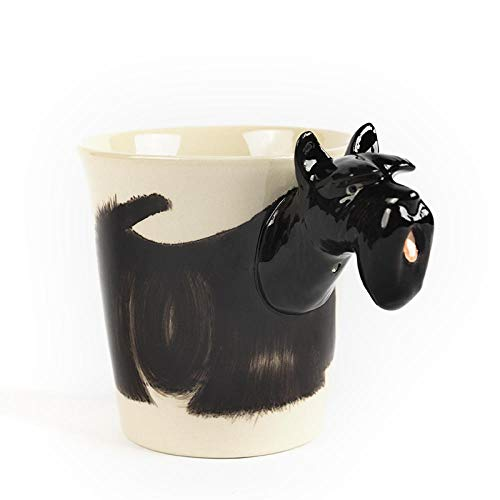 - Hand-Painted 3D Animal Mug Ceramic Coffee Cup Birthday Gift Cup 300Ml-Scottish Terrier