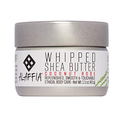 (Alaffia - Whipped Shea Butter, All Skin Types, Moisturizing Support to Soften and Nourish Skin with Shea Butter and Coconut Oil, Fair Trade, No Parabens, Vegan, Coconut Rose, 1.5)