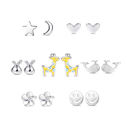 Sllaiss 7 Pairs Moon Star Stud Earrings Set White Gold Plated Earrings One Week Earrings Set With Gift Box Hypoallergenic Jewelry Gift for Girls Children