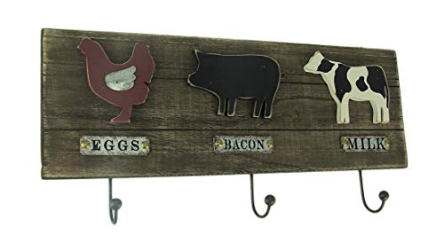 Direct International Wood & Metal Decorative Wall Hooks Country Farmhouse Recycled Wood Farm Animals Wall Hook 22 X 10.5 X 1 Inches Brown by Direct International
