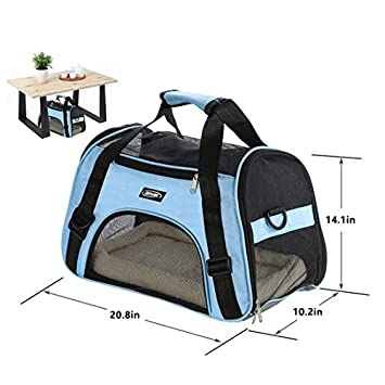 Soft-Sided Large Pet Carrier, Airline Approved,20.8×10.2×14.1Travel Tote with Cozy and Soft Dog Bed,Portable,Collapsible,Travel Friendly