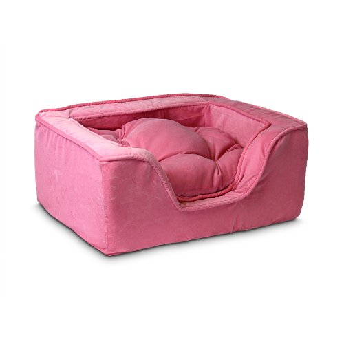 Snoozer Luxury Square Pet Bed, Medium, Pink
